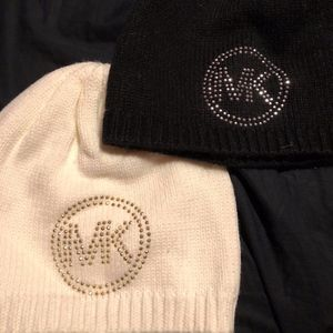 NWOT MK studded beanies in white and black